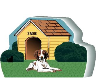 Add your dog's name to the doghouse of this Brittany Spaniel. Personalized by The Cat's Meow Village in Ohio.