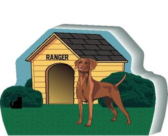 "Personalize this Vizsla dog house with your dog's name. We handcraft it in the USA from 3/4"" thick wood. The Cat's Meow Village."