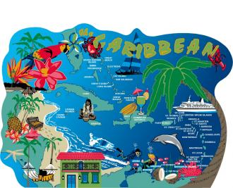 Caribbean Map, Islands of the Caribbean, St. Thomas, St. Lucia, Bahamas, Cayman Islands, Gulf Of Mexico