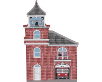 Wooden handcrafted keepsake of Engine Company No. 11 created by The Cat's Meow Village
