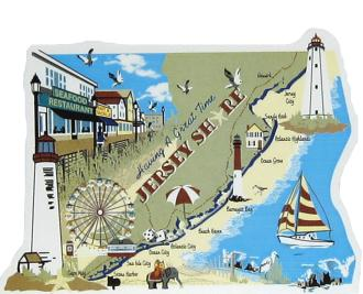 Map of the Jersey Shore handcrafted in wood by The Cat's Meow Village in the USA
