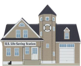 Wooden shelf sitter décor of the U.S. Life-Saving Station handcrafted in the U.S. by The Cat's Meow Village