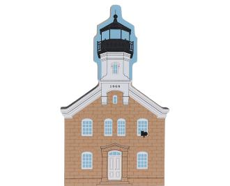 Wooden handcrafted keepsake of Morgan Point Lighthouse created by The Cat's Meow Village