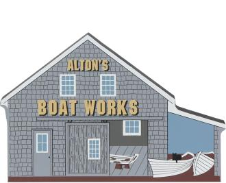 Bring the beach home with a Cat's Meow handcrafted wooden miniature of Alton's Boat Works