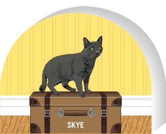 Cat's Meow shelf sitter of a Grey Shorthair cat you can personalize with your cats name.