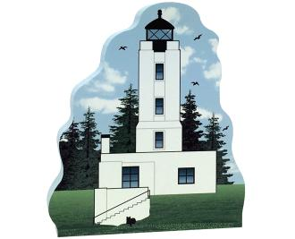 Cat's Meow Village handcrafted wooden replica of Five Finger Lighthouse, Alaska. Made in the USA.