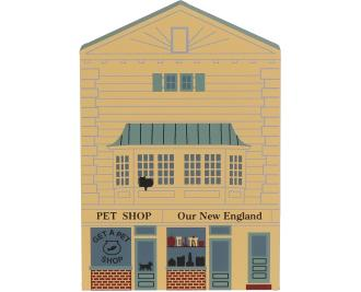 Home display of the Pet Shop/Gift Shop handcrafted from wood by The Cat's Meow Village