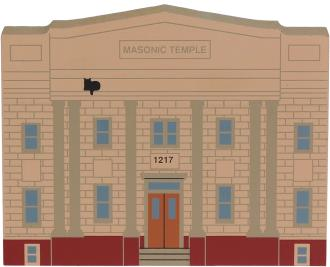 Wooden handcrafted keepsake of the Masonic Temple created by The Cat's Meow Village