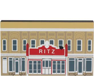 Decorate your home with a little wooden Village that reminds you of the Ritz Theater. Handcrafted in wood by The Cat's Meow Village.
