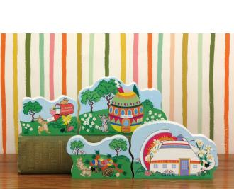 """Four-piece set of Cottontail Path collection by The Cat's Meow Village handcrafted in the U.S. from 3/4"""" thick wood."""