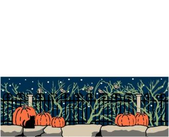Cat's Meow Halloween Briar Fence with pumpkins and Casper the black cat.