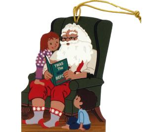 Twas The Night Before Christmas Santa Ornament handcrafted in wood by The Cat's Meow Village