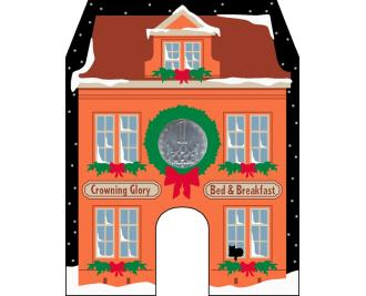 Cat's Meow Village North Pole Collection, Crowing Glory Bed & Breakfast includes glittery snow and Limited Edition Czech Republic Koruna Ceska coin