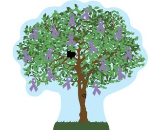 Cat's Meow Lavender Awareness Ribbon Tree for All Cancers