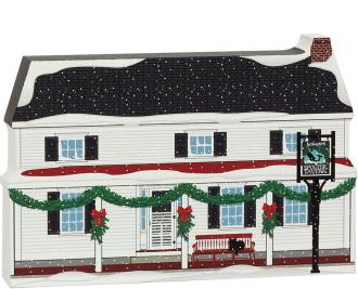 "Mystic Seaport Spouter Tavern recreated in 3/4"" thick wood, handcrafted for your holiday decor."