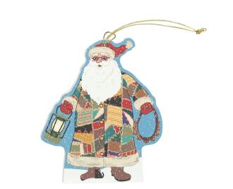 Wooden Quilted Santa ornament, handcrafted in the USA by The Cat's Meow Village