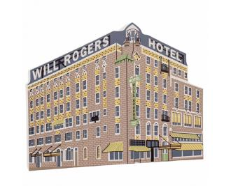Wooden replica of the Will Rogers Hotel, Claremore, Oklahoma along Route 66. Handcrafted in the USA by The Cat's Meow Village.