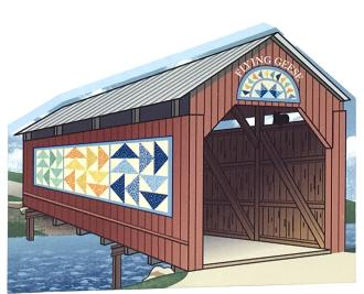 Flying Geese Covered Bridge handcrafted by The Cat's Meow Village and made in the USA.