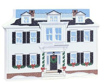 "Decorate a niche in your home with this Captain's House, part of the Martha's Vineyard Christmas Series handcrafted in 3/4"" thick wood by The Cat's Meow Village"
