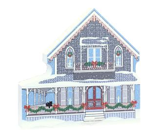 "Decorate a niche in your home with this Victorian Cottage, part of the Martha's Vineyard Christmas Series handcrafted in 3/4"" thick wood by The Cat's Meow Village"