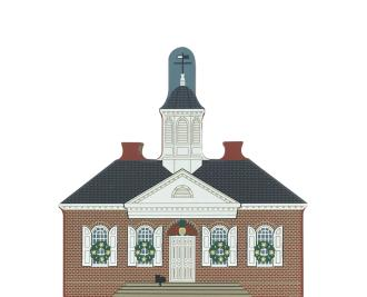 "Vintage 1770 Courthouse from Traditional Williamsburg Christmas Series handcrafted from 3/4"" thick wood by The Cat's Meow Village in the USA"