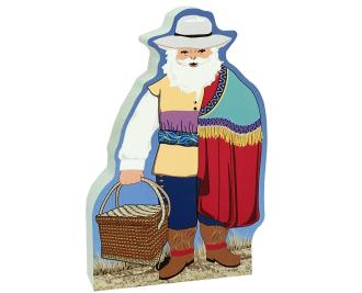 "This Colonial Mexico Santa will cheer up your holiday decor. We handcraft him from 3/4"" thick wood with a poem on the back. Made in the USA by The Cat's Meow Village."