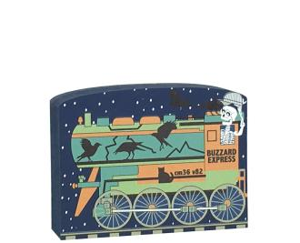 """This Cat's Meow Village Buzzard Express engine is part of a 5-piece Halloween train set. We handcraft it from 3/4"""" thick wood in our Wooster, Ohio workshop."""