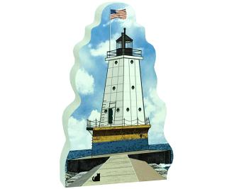 "Replica of the Ludington North Breakwater Light handcrafted in 3/4"" thick wood by The Cat's Meow Village in Wooster, Ohio."