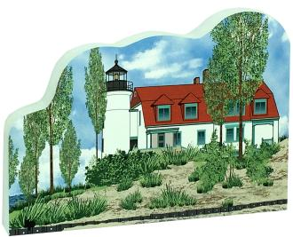 "Replica of the Point Betsie lighthouse in Frankfort, MI, handcrafted in 3/4"" thick wood by The Cat's Meow Village in Wooster, Ohio."