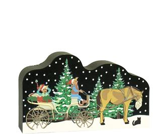 "Satisfy your Christmas holiday decorating itch with this North Pole Carriage, and while you're at it, add more pieces to make a Villlage! Handcrafted of 3/4"" thick wood by The Cat's Meow Village in the USA."