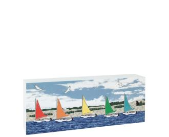 "Replica of Rainbow colored sailboats along Cape Cod. Handcrafted in 3/4"" thick wood by The Cat's Meow Village in the USA."