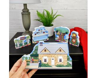 """Mister Rogers Neighborhood collection handcrafted in 3/4"""" thick wood by The Cat's Meow Village in Wooster, Ohio."""