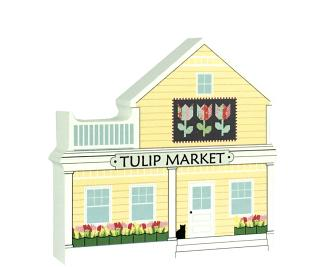 """Tulip Quilt Market handcrafted of 3/4"""" thick wood by The Cat's Meow Village in Wooster, Ohio."""