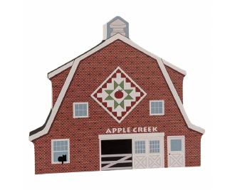 "Apple Creek Quilt pattern barn handcrafted of 3/4"" thick wood by The Cat's Meow Village in Wooster, Ohio."