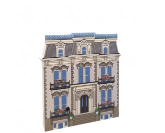 "Beautifully detailed front of the Hamilton-Turner House, Savannah, Georgia.  Handcrafted in 3/4"" thick wood by The Cat's Meow Village in the USA."