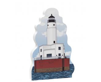 "Replica of the Cleveland Ledge Lighthouse in Buzzards Bay, Cape Cod. Handcrafted in 3/4"" thick wood with colorful details on the front and a short history on the back. American made by The Cat's Meow Village."