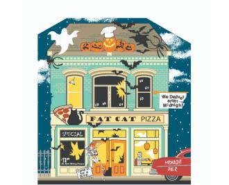 """Add this Fat Cat Pizzeria to your Halloween decorations this year. Handcrafted of 3/4"""" thick wood in Wooster, Ohio by The Cat's Meow Village."""