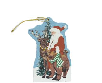 "Wilderness Santa ornament to adorn your holiday tree. Handcrafted by The Cat's Meow Village of 1/4"" thick wood, plus string ready to hang."