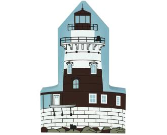 Wooden Cat's Meow keepsake of the historic Robbins Reef Light in New Jersey, featuring a woman light keeper