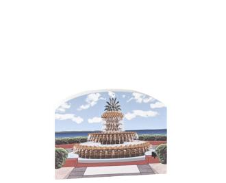 "Replica of the Pineapple Fountain in Charleston, South Carolina. Handcrafted in 3/4"" thick wood by The Cat's Meow Village in Wooster, Ohio."