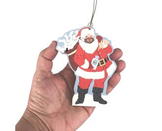 "Special Delivery Santa 2020 Ornament. Handcrafted in the USA 3/4"" thick wood by Cat's Meow Village."