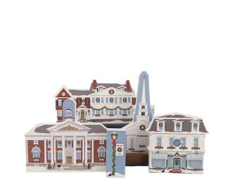 "Stowe, Vermont Christmas collection handcrafted in 3/4"" thick wood by The Cat's Meow Village in the USA."