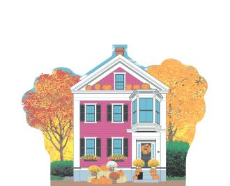 Beautifully detailed keepsake of The Pink House, Autumn in Salem, Massachusetts.  Handcrafted by Cat's Meow Village in the USA.
