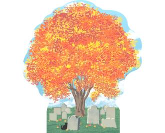 Cemetery, Autumn in Salem, Massachusetts.  Handcrafted by Cat's Meow Village in the USA.
