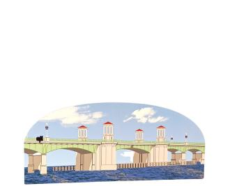 """St. Augustine, Bridge of Lions, Florida. Handcrafted in the USA 3/4"""" thick wood by Cat's Meow Village."""