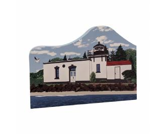 """Point No Point Lighthouse, Hansville, Washington.  Handcrafted in the USA 3/4"""" thick wood by Cat's Meow Village."""