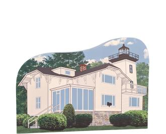 "Hospital Point Lighthouse, Beverly Massachusetts. Handcrafted in the USA 3/4"" thick wood by Cat's Meow Village."