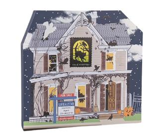 "Are you in the market for a haunted house? The ghouls are ready to sell. It has a bootiful interior! Handcrafted of 3/4"" thick wood by The Cat's Meow Village in Wooster, Ohio."