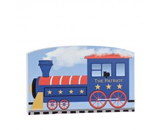 """The Patriot Enginefor the Pride of America train Collection handcrafted in 3/4"""" thick wood by The Cat's Meow Village in the USA."""