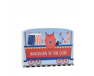 """American to the Core car for the Pride of America train Collection handcrafted in 3/4"""" thick wood by The Cat's Meow Village in the USA."""